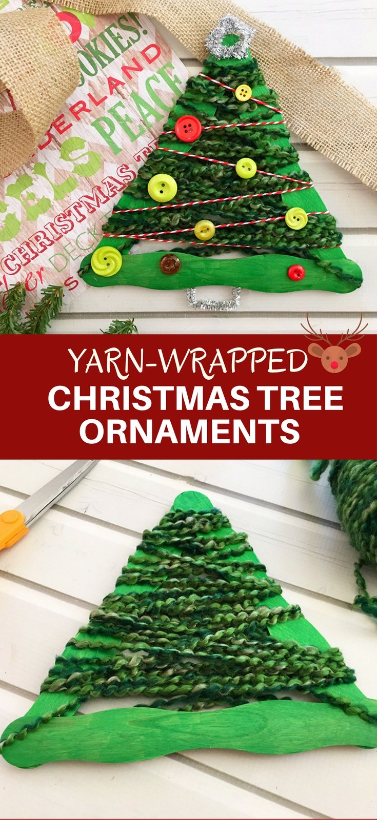 Yarn-Wrapped Christmas Tree Craft Stick Ornaments are a great holiday project for the whole family. They're so easy to make and a festive addition to your Christmas decor!