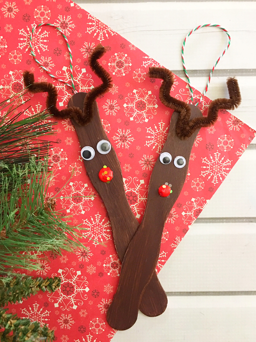 craft stick reindeer ornaments are an easy and fun christmas craft to do with the whole