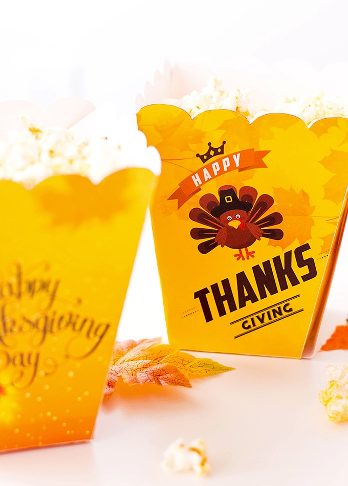 These FREE printable Thanksgiving popcorn boxes are an adorable way to package snacks and gifts for the holiday.