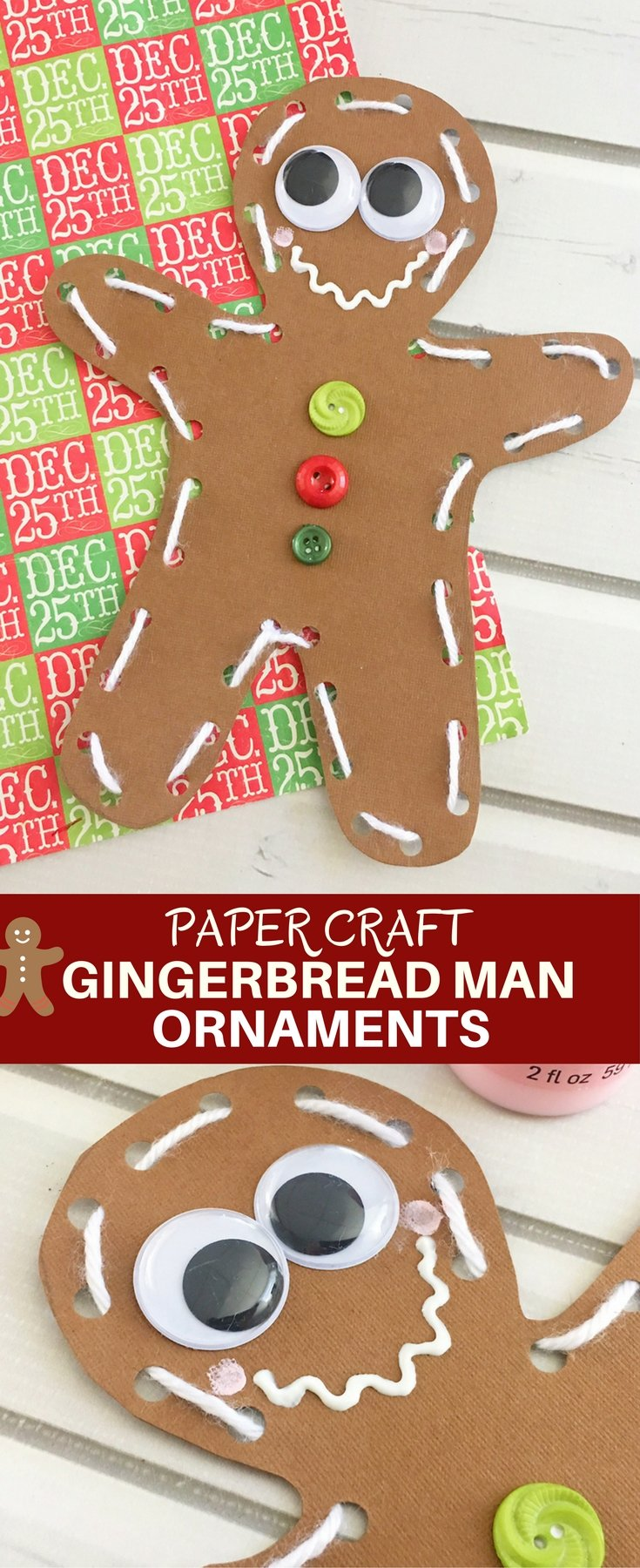 DIY Gingerbread Man Ornaments are an easy and fun holiday activity that will keep the little ones busy for hours! Use as tree ornaments, gift tags or holiday dinner placecards!