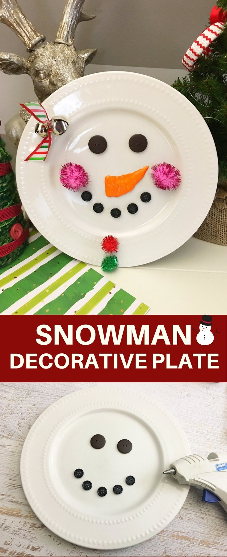 DIY Snowman Decorative Plate is an adorable addition to any Christmas decor! So easy and fun to make with simple supplies from the Dollar Store!