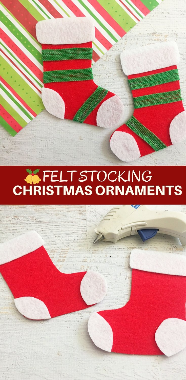 Felt Stocking Christmas Ornaments are an adorable addition to any holiday decor. So easy and fun to make with simple crafts supplies