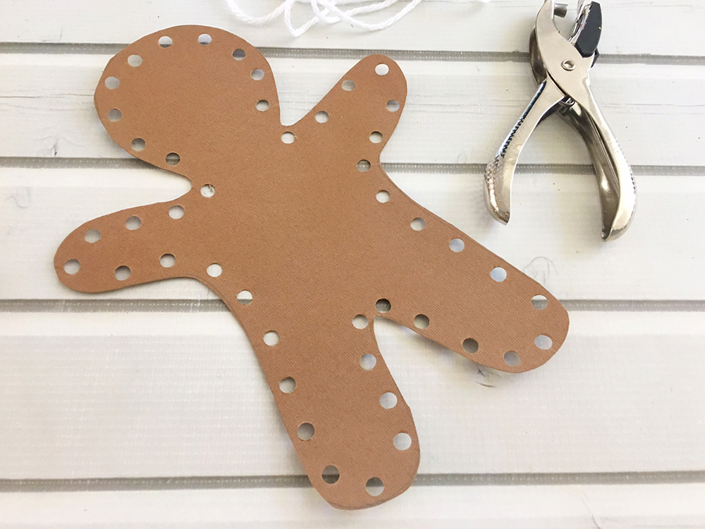 DIY Gingerbread Man Ornaments are an easy and fun holiday activity that will keep the little ones busy for hours! Use as tree ornamnets, gift tags or holiday dinner placecards-punch holes along the outside of gingerbread man