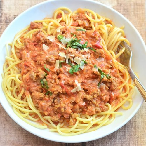 spaghetti with italian sausage and vodka sauce onion rings things