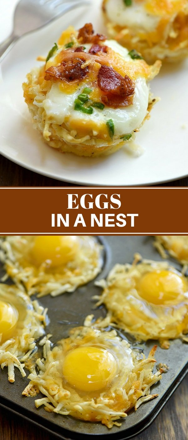 Eggs in a Nest with soft yolks, crisp bacon, cheese, and green onions baked in hash brown potato nests. They're a delicious breakfast treat and totally portable for snacking on the go.