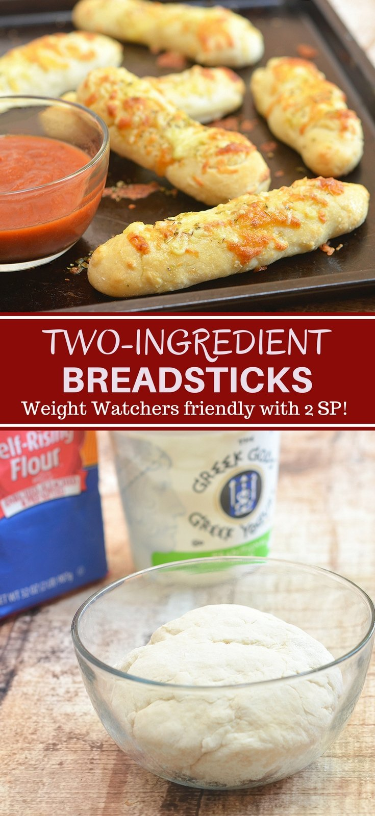 Two-Ingredient Breadsticks with two simple ingredients you probably already have in the kitchen! The versatile two-ingredient dough makes great pizza crust and is perfect for flatbreads, pretzel bites, calzones, and bagels. Weight watchers friendly with 2 smart points per serving!