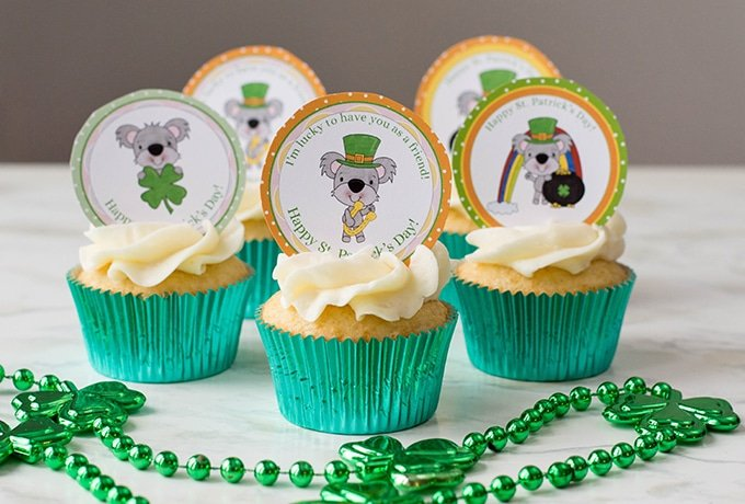St. Patrick's Day cupcake toppers are a perfect addition to sweet vanilla cupcakes