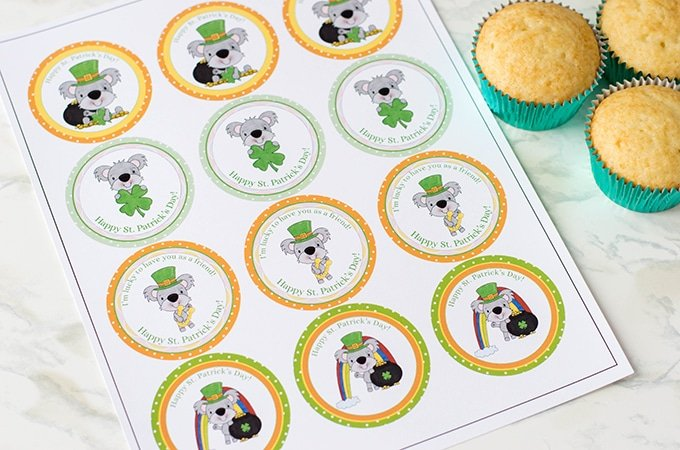 This free St. patrick's day cupcake toppers come in an easy to use sheet
