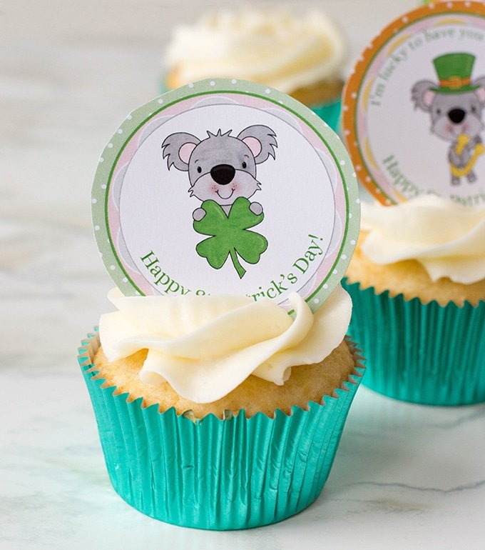 St. Patrick's Day cupcakes with free st. patrick's day cupcake toppers