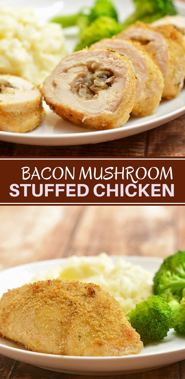 Bacon Mushroom Stuffed Chicken filled with crisp bacon bits, tender mushrooms, and gooey cheese. Moist and flavorful, it's easy enough to make for busy weeknight dinners yet fancy enough for company.