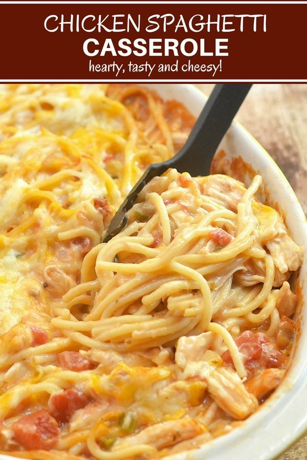 Chicken Spaghetti loaded with moist chicken, spaghetti noodles, creamy tomato sauce and cheese