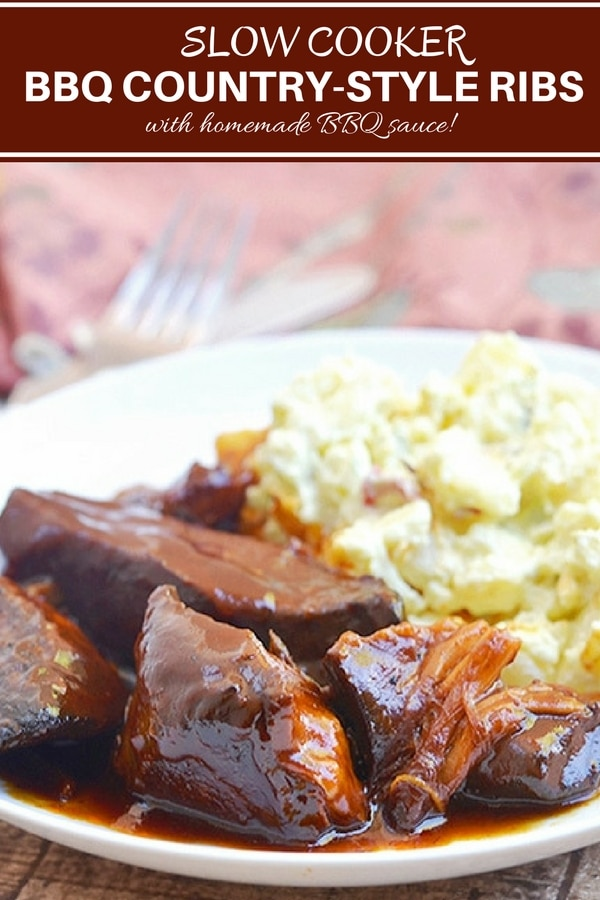 Slow Cooker Country Style Ribs with BBQ sauce cooked until juicy and tender