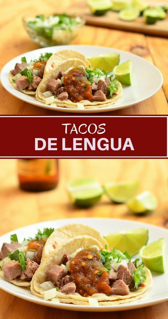 Tacos de Lengua with melt-in-your-mouth tender ox tongue, corn tortillas and your favorite taco fixings! Moist and flavorful, they're one of the best tacos you'll ever have!