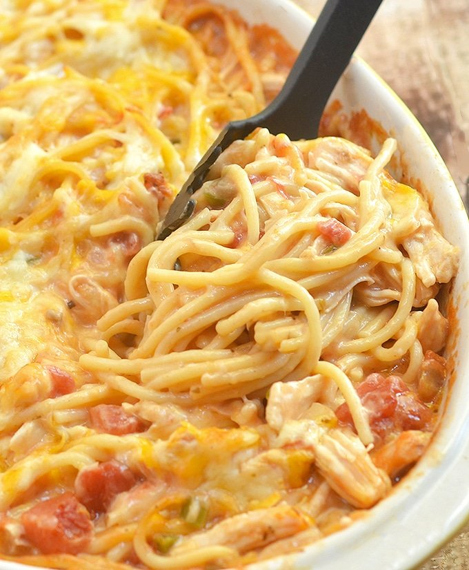 Chicken Spaghetti Casserole loaded with moist chicken, spaghetti noodles, and creamy tomato sauce is the epitome of comfort food. Cheesy, hearty and tasty, it's sure to be a family favorite!
