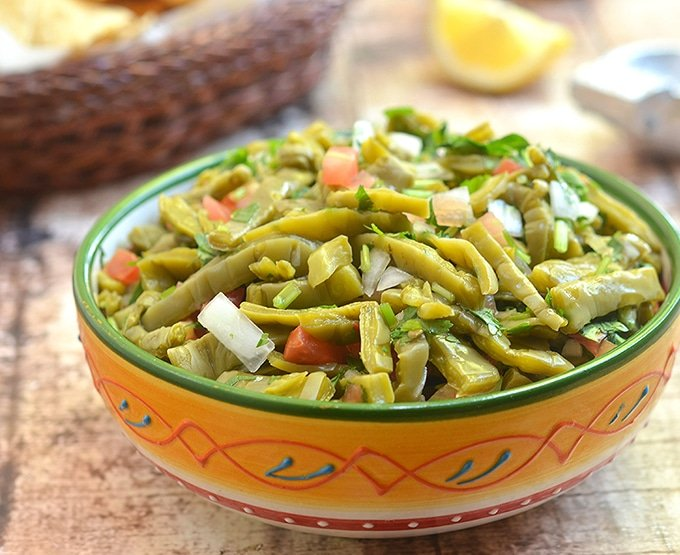 Nopal with tomatoes, onions, cilantro and lime juice for fresh, healthy and delicious salad