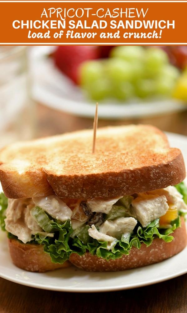 Chicken Salad Sandwich with apricots, cashews, celery, raisins and mayo-yogurt dressing