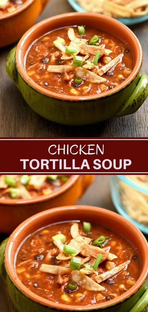 Easy chicken tortilla soup recipe loaded with all the good stuff. With moist chicken, black beans, corn, and crisp tortilla strips, it's hearty and delicious!