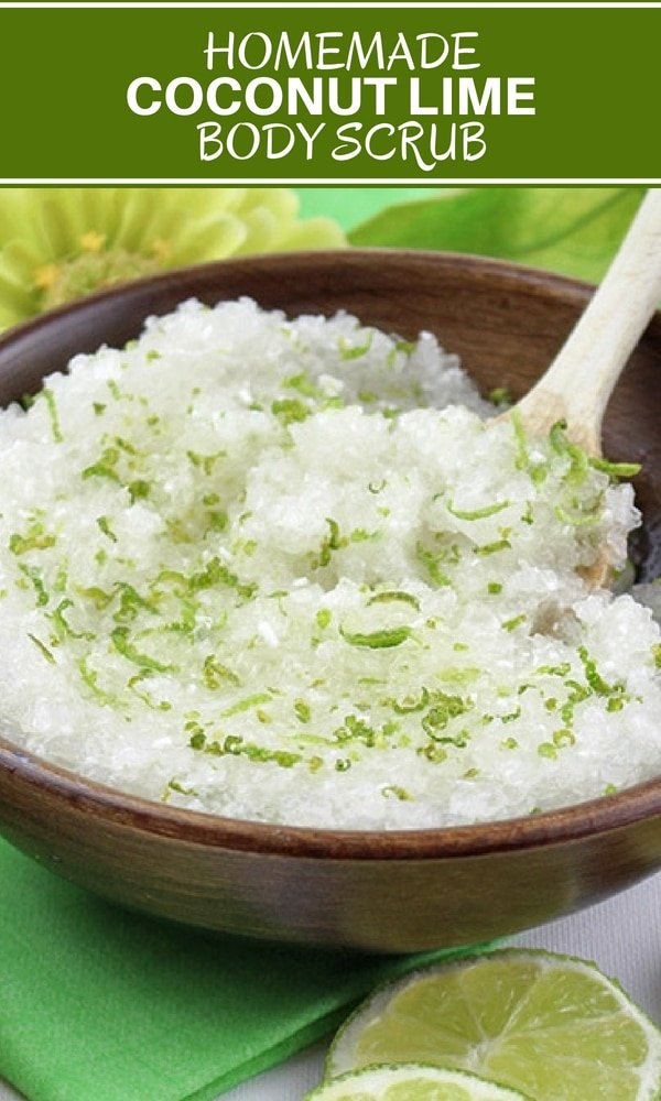 DIY Coconut Oil Body scrub made with lime and salt.