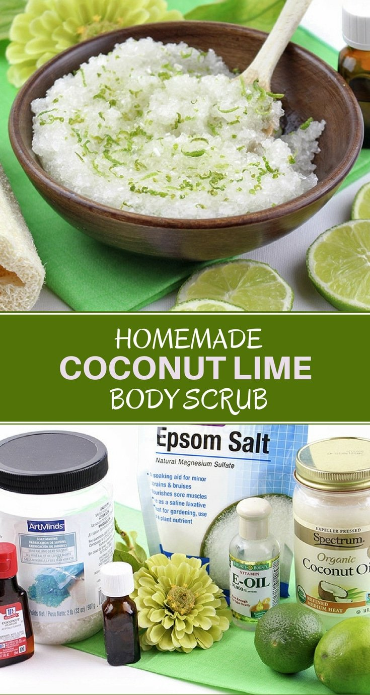 Homemade Coconut Lime Body Scrub with the sweet and energizing aromas of coconut and lime. It exfoliates the skin while leaving it soft and moisturized. Makes a great gift, too!