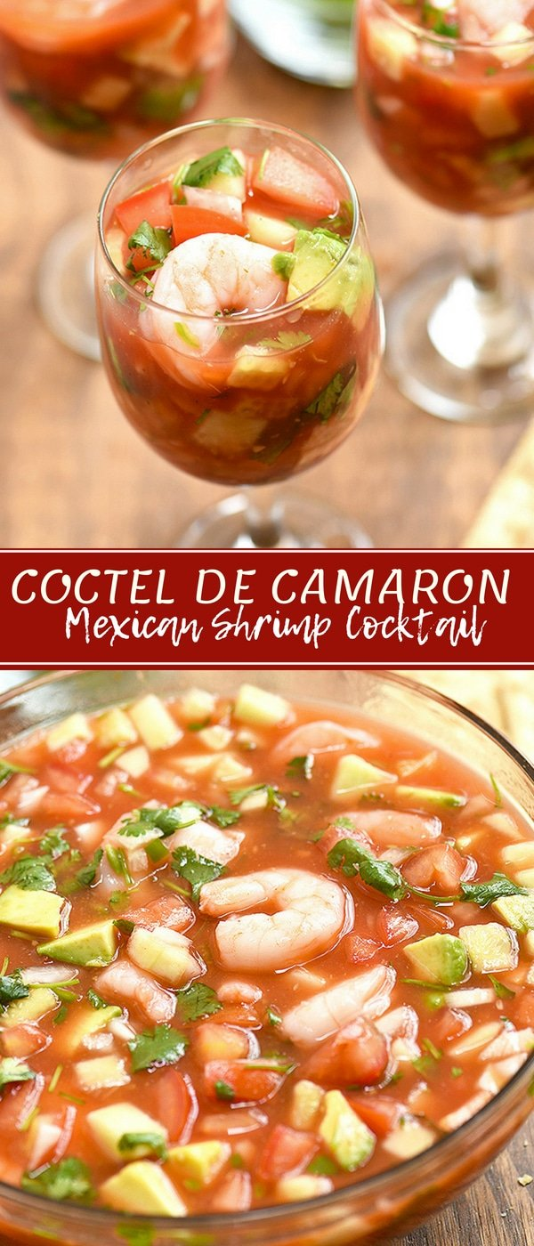Coctel de Camarones with shrimp, tomatoes, onions, cucumber, cilantro, jalapenos in clam and tomato juice cocktail. This Mexican Shrimp Cocktail is refreshing and seriously addicting! Serve with saltine crackers or tostadas for the best Mexican flavors!