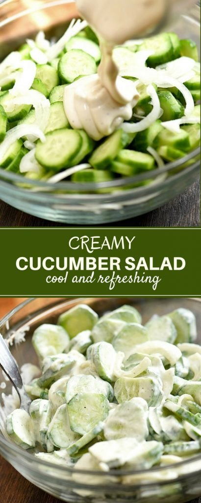 sliced cucumbers and sweet onions drizzled with mayo dressing