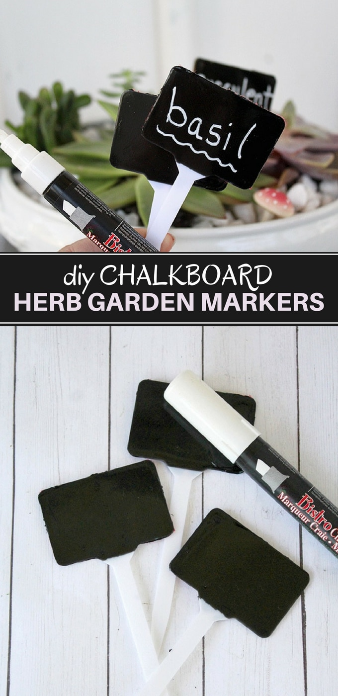 DIY Herb Garden Markers perfect for indoor herb or windowsill gardens. Made with chalkboard paint and markers, they are super easy to make and reusable!