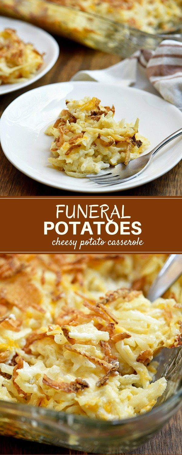 Funeral potatoes with creamy hashbrowns and crunchy french-fried onions. Easy to make yet hearty and tasty, this cheesy potato casserole is a guaranteed crowd-pleaser!