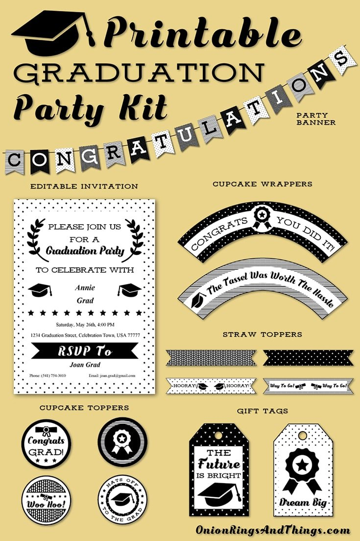 FREE Graduation Party Kit Printables to celebrate your favorite grad in style! Includes cupcake toppers, straw toppers, cupcake wrappers, gift tags, banner plus editable invitation cards.