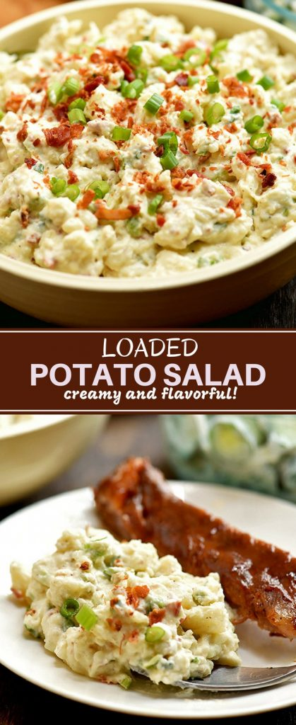 Loaded Potato Salad with bacon crumbles, chopped eggs, crisp celery and green onions
