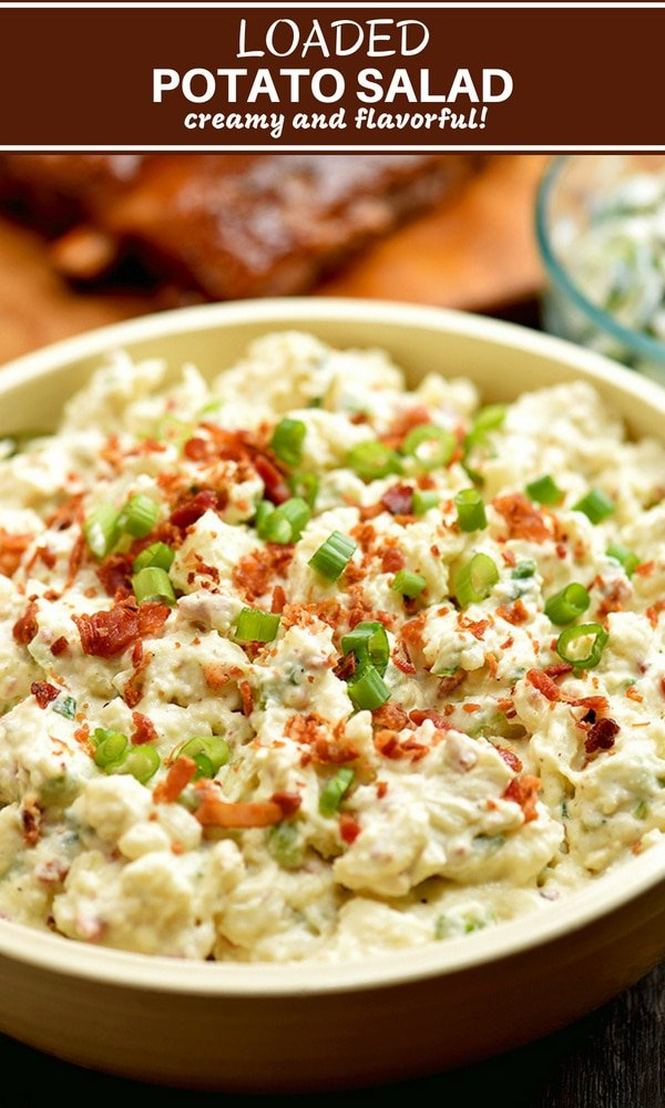 Loaded Potato Salad with bacon, eggs, celery, and green onions