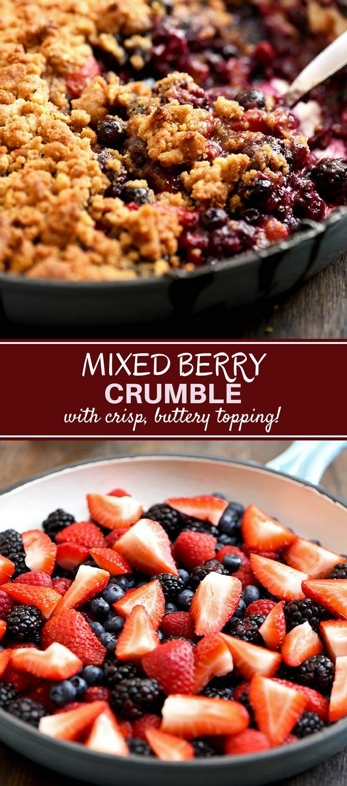 Mixed Berry Crumble is the best way to enjoy Summer berries! Perfectly sweet and tart with a buttery, crispy crumble, top with ice cream or whipped cream for a fabulous dessert!