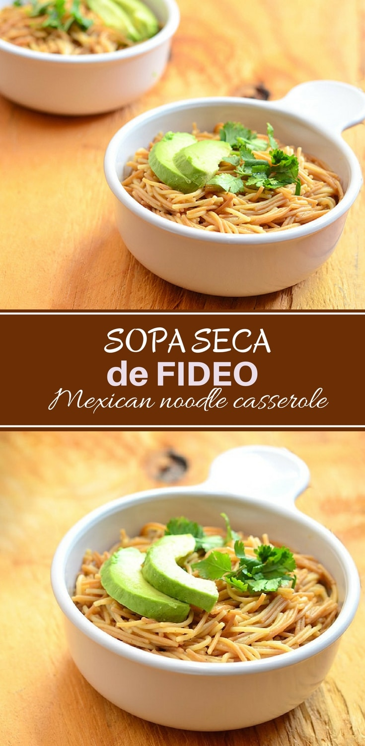 Sopa Seca de Fideo made with thin fideo noodles cooked in fresh tomato sauce and broth. Topped with crumbled cheese, avocados, and cilantro, this Mexican