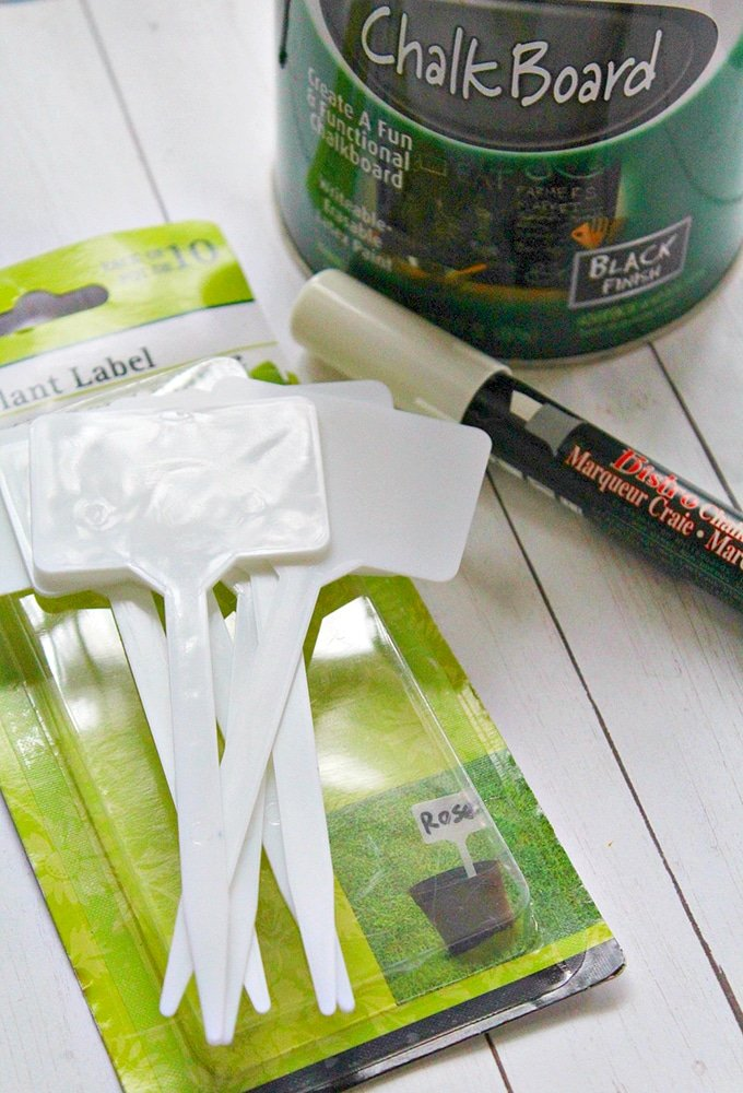 materials needed to make chalkboard herb garden markers