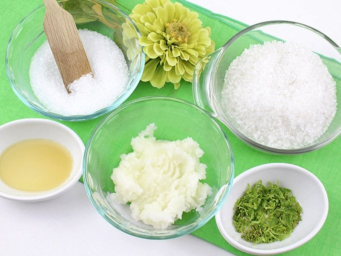 Ingredients for DIY Coconut Lime Body Scrub