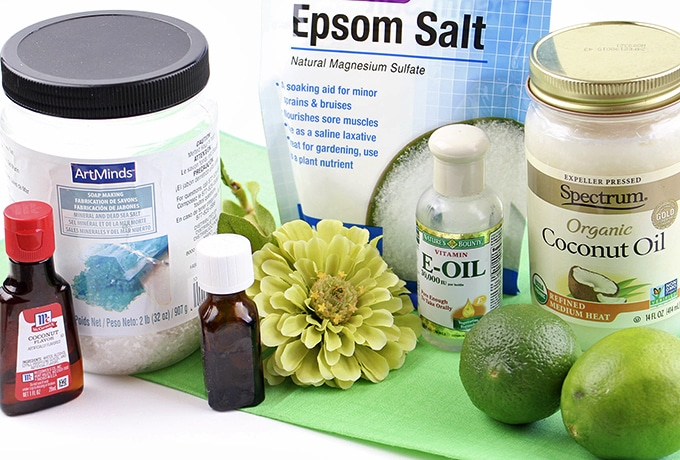 Ingredients for Coconut Lime Body Scrub-coarse salt, Epsom Salt, coconut oil, lime essential oil, coconut essential oil, lime juice and zest