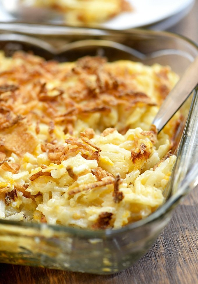 hash brown casserole in a clear baking dish