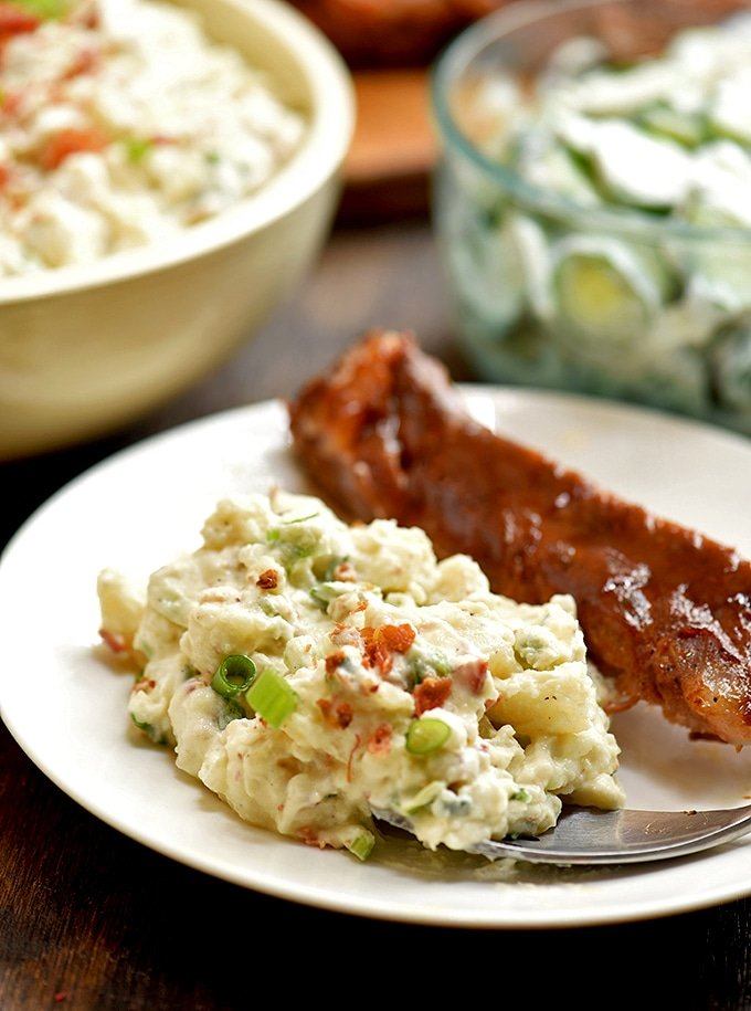 Creamy, chunky and tasty, loaded potato salad is a perfect side dish for all your favorite summer meals!