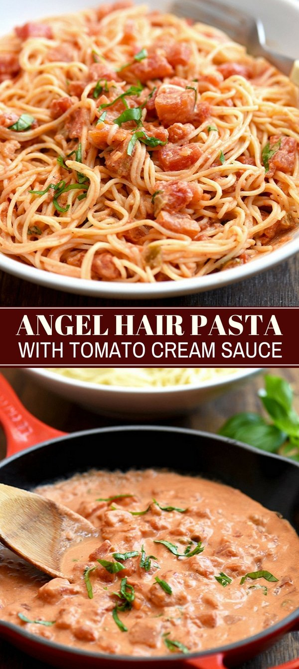 angel hair pasta tossed with chunky tomato cream sauce on white plate