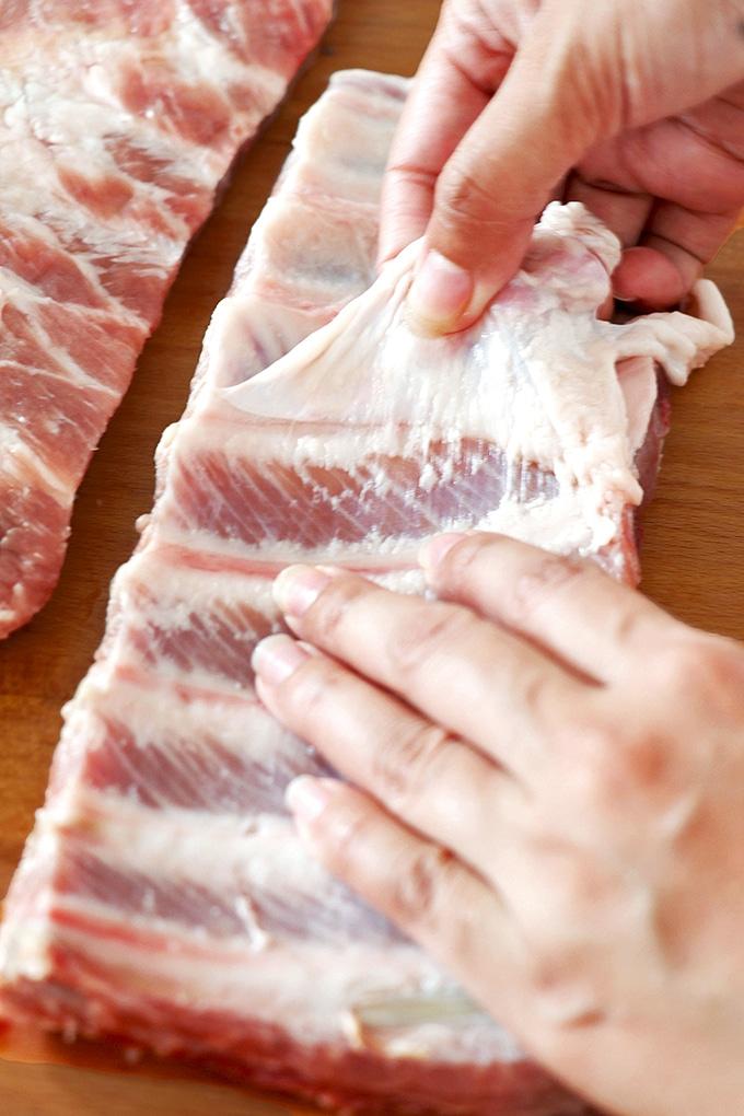 removing membrane off pork loin back ribs