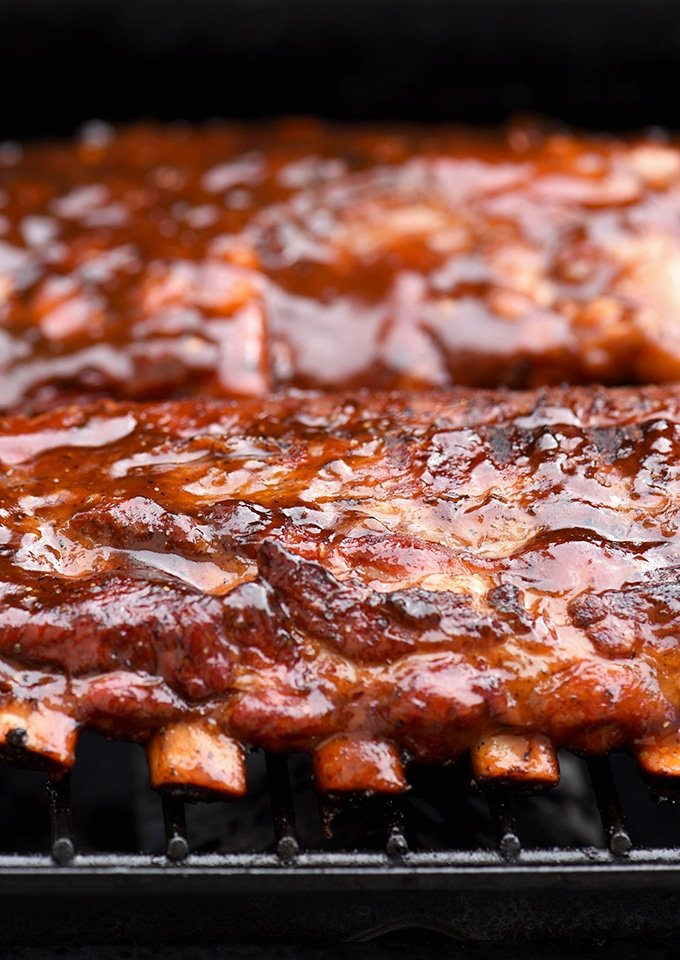 Grilled Cola BBQ Baby Back Ribs on the grill