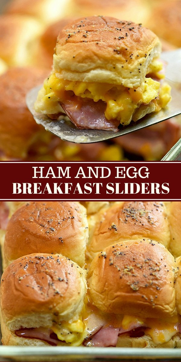breakfast sliders baked in a casserole dish
