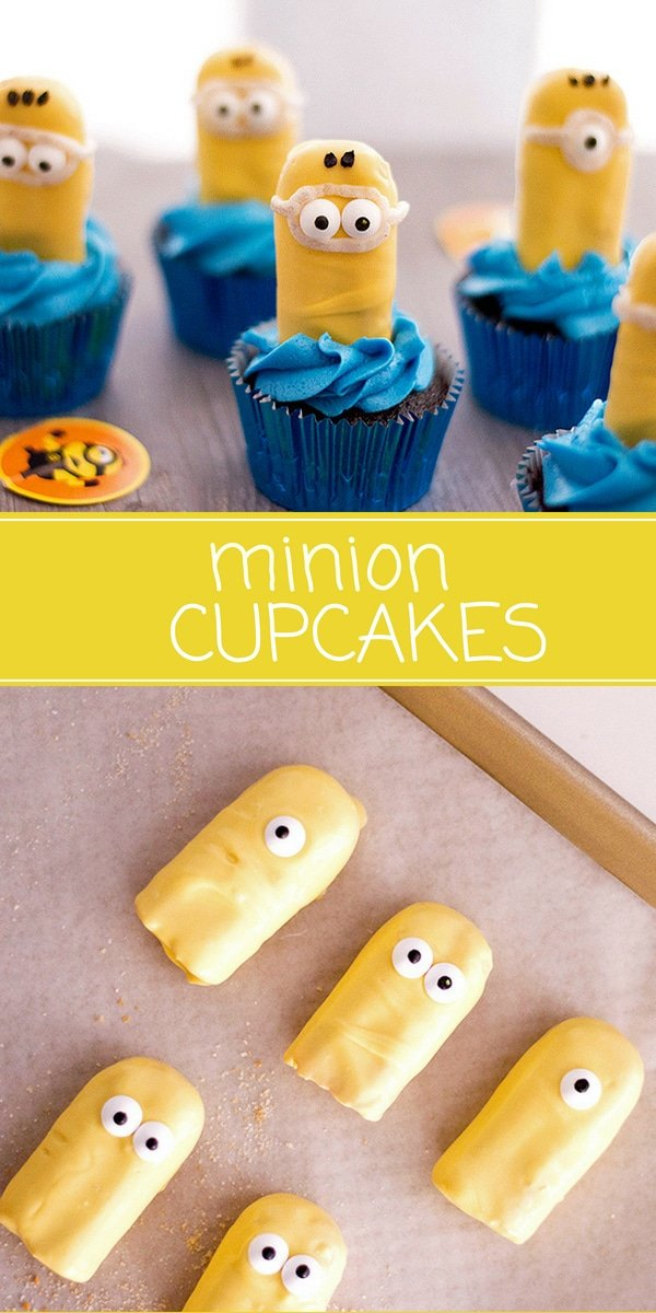 Minion Cupcakes with blue frosting and candy coated ladyfingers