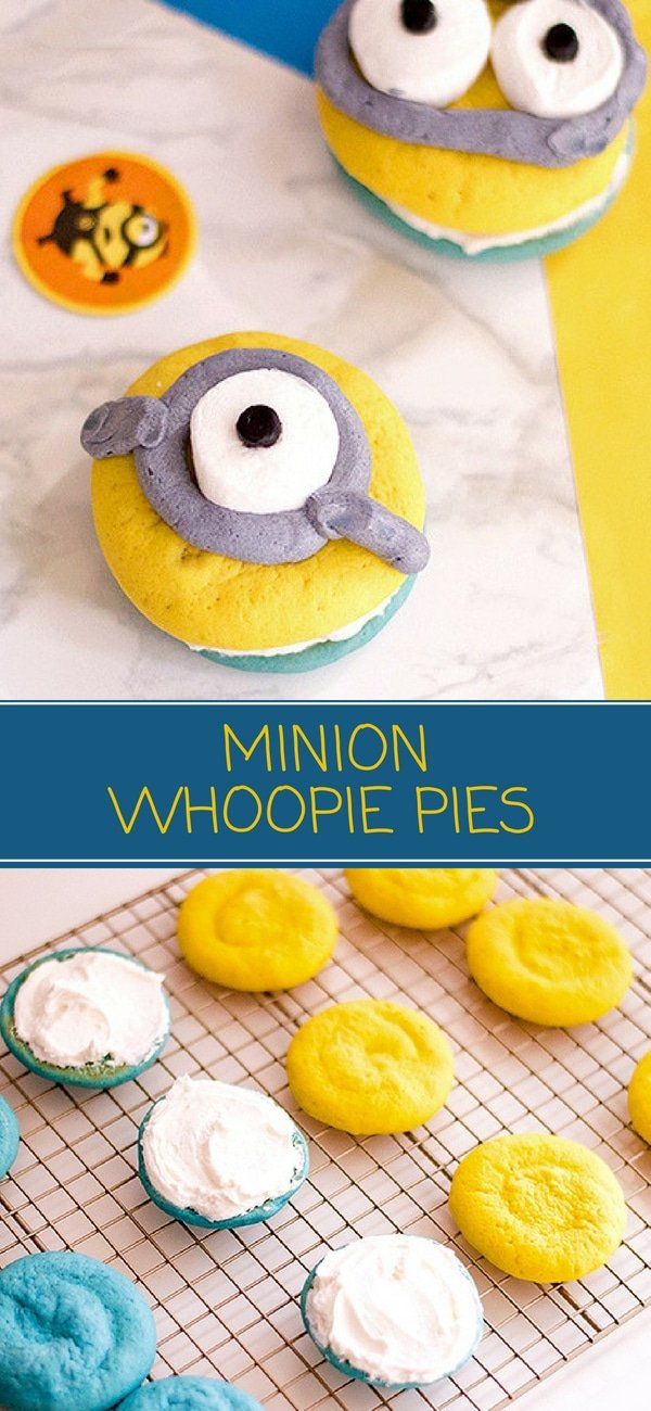 Minion Whoopie Pies are the most adorable sweet treat EVER! Fun to eat as they are to make, kids and adults alike will love these. Perfect as an after-school snack or for a Minion birthday party!