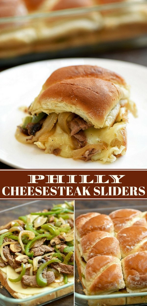 Philly Cheesesteak Sliders are the perfect family dinner or party fare. Loaded with juicy ribeye steak, bell peppers, onions, and mushrooms baked in slider rolls with creamy provolone cheese, they're a fun and tasty finger food that's sure to be a crowd favorite!