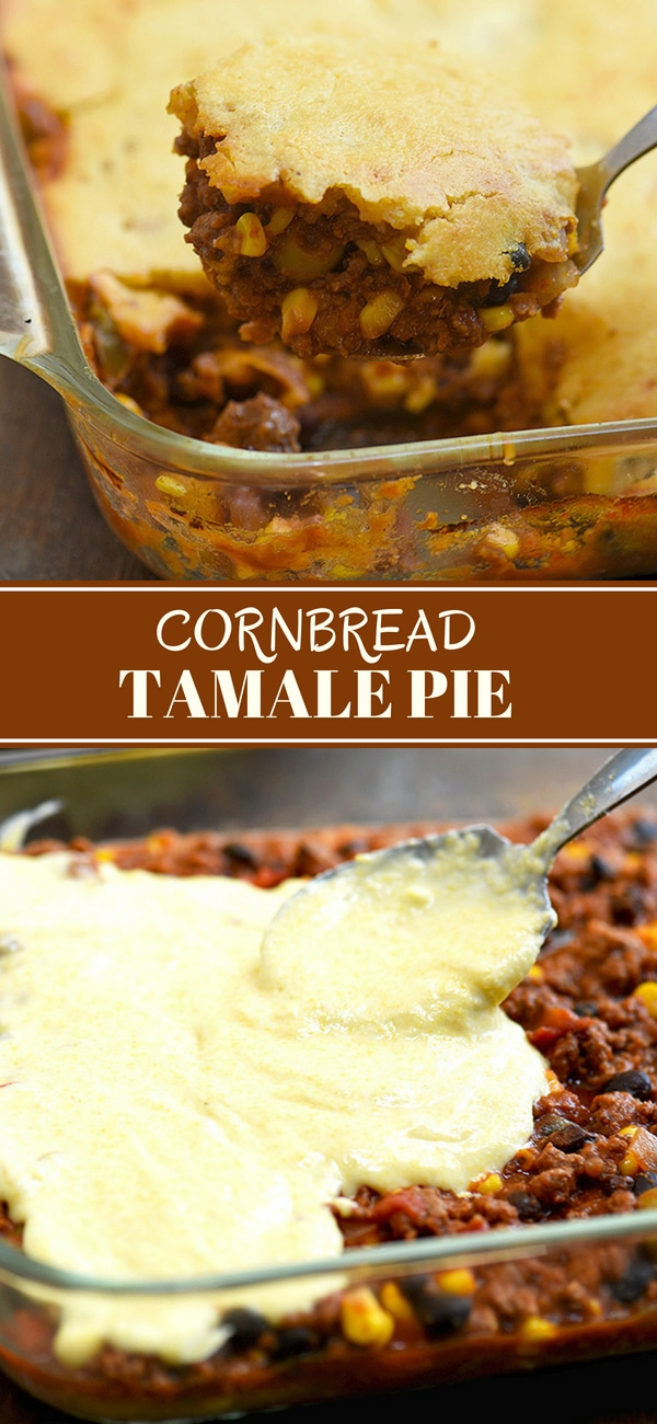 tamale pie in a casserole dish being scooped with serving spoon