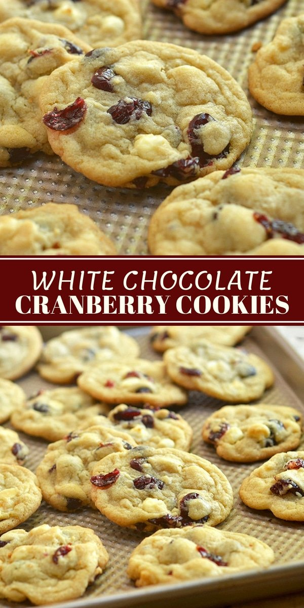 White Chocolate Cranberry Cookies are soft, chewy and loaded with tart dried cranberries and creamy white chocolate chips. They're perfect for any time you need a sweet treat and great for gift giving, too!