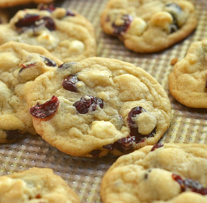White Chocolate Cranberry Cookies on a baking sheet