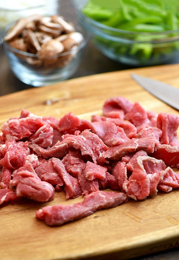 sliced ribeye steak for Philly cheesesteak sliders