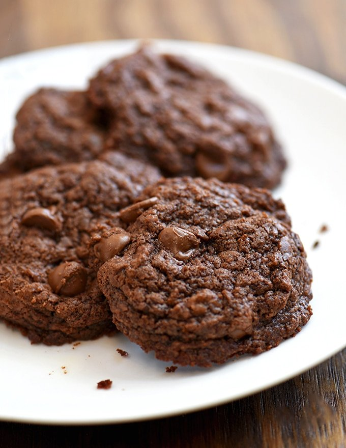 Three-Ingredient Nutella Cookies on a white plate