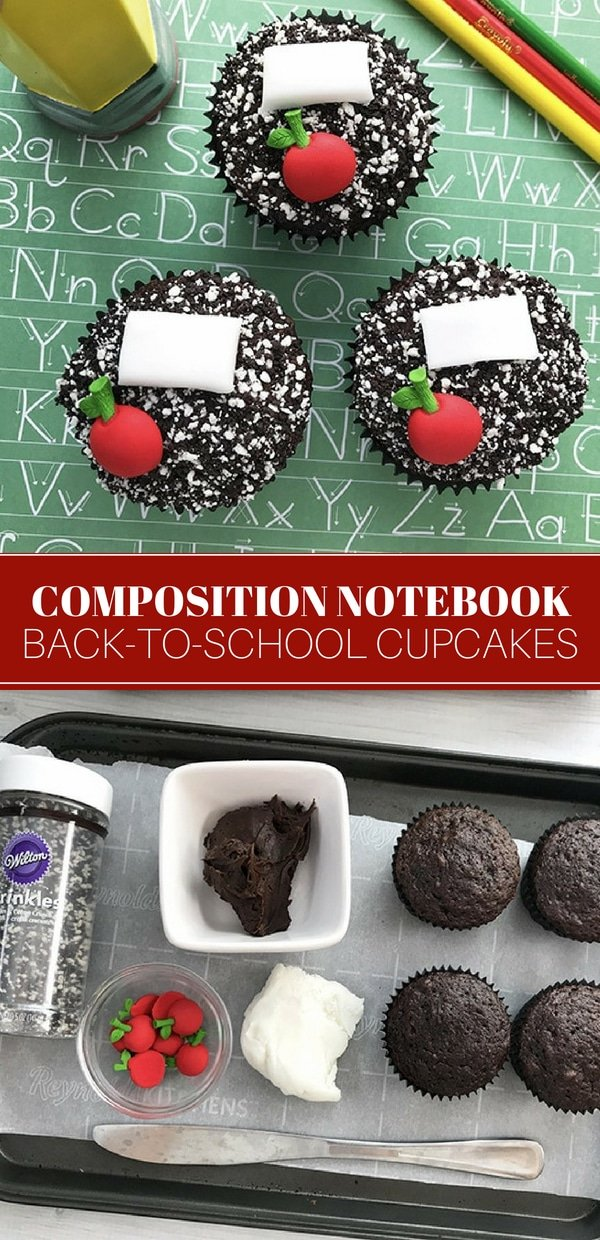 Back-to-school cupcakes with composition notebook design